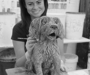 SuzieJasper-website2020-dogsculpture-Patch-04-blackandwhite
